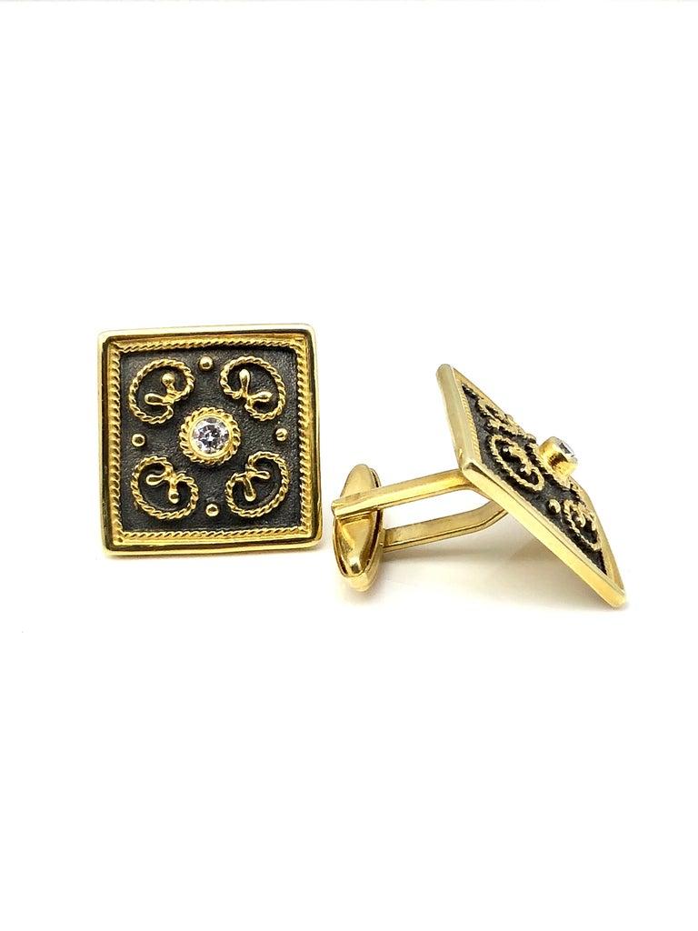 Women's or Men's Georgios Collections 18 Karat Yellow Gold Byzantine Style Diamond Cufflinks For Sale