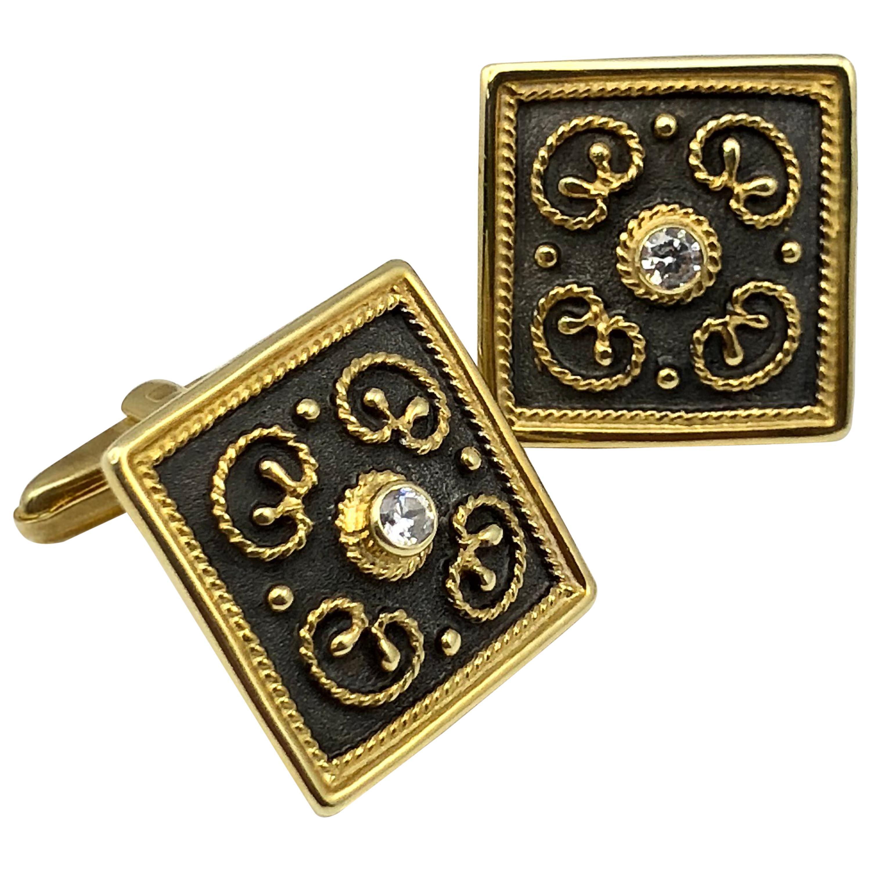 Georgios Collections 18 Karat Yellow Gold Rhodium Diamond Byzantine Cufflinks