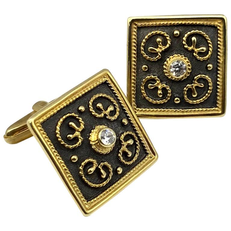 Georgios Collections 18 Karat Yellow Gold Byzantine Style Diamond Cufflinks For Sale