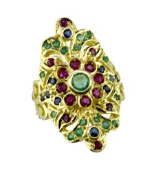 Georgios Collections 18 Karat Yellow Gold Emerald Ruby Sapphire Byzantine Ring