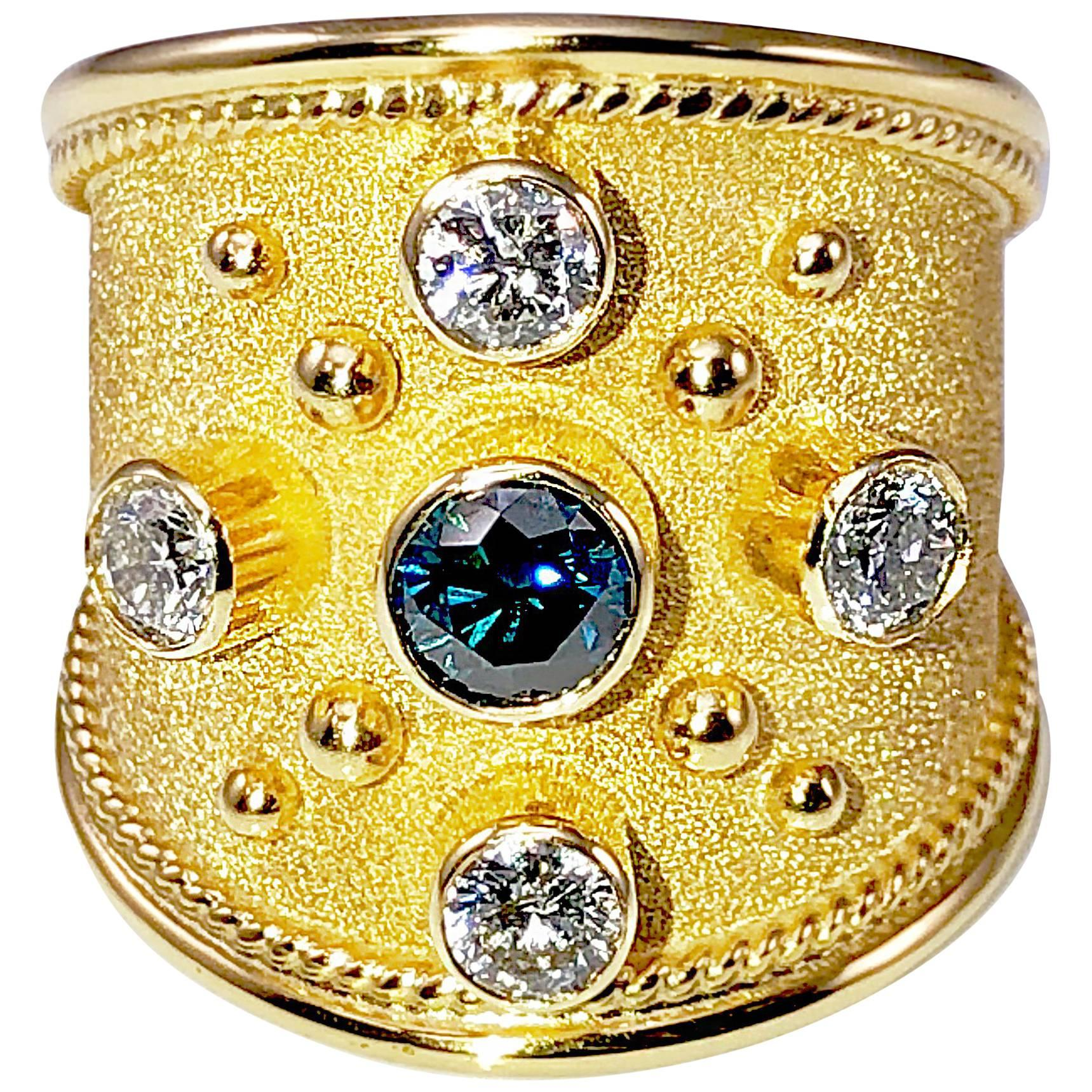 Georgios Collections 18 Karat Yellow Gold Blue and White Diamonds Wide Band Ring