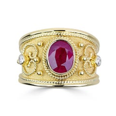 Georgios Collections 18 Karat Yellow Gold Byzantine Style Ruby and Diamond Ring