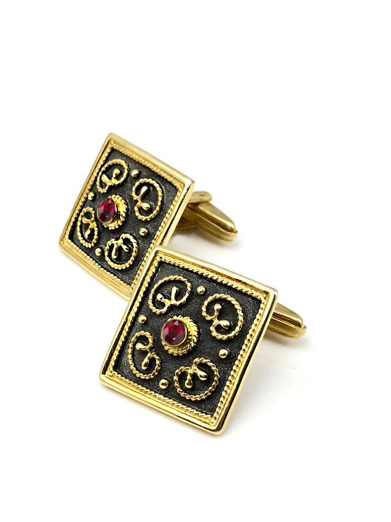 S.Georgios designer cufflinks hand made in Greece from 18 Karat yellow gold and finished with black rhodium. Cufflinks are microscopically decorated with granulation work in Byzantine style and with unique velvet background. The center features