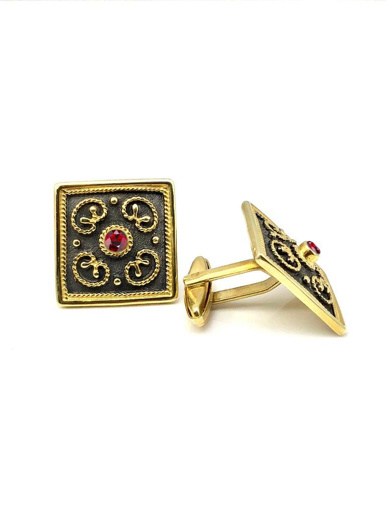 Round Cut Georgios Collections 18 Karat Yellow Gold Byzantine Style Square Ruby Cufflinks For Sale