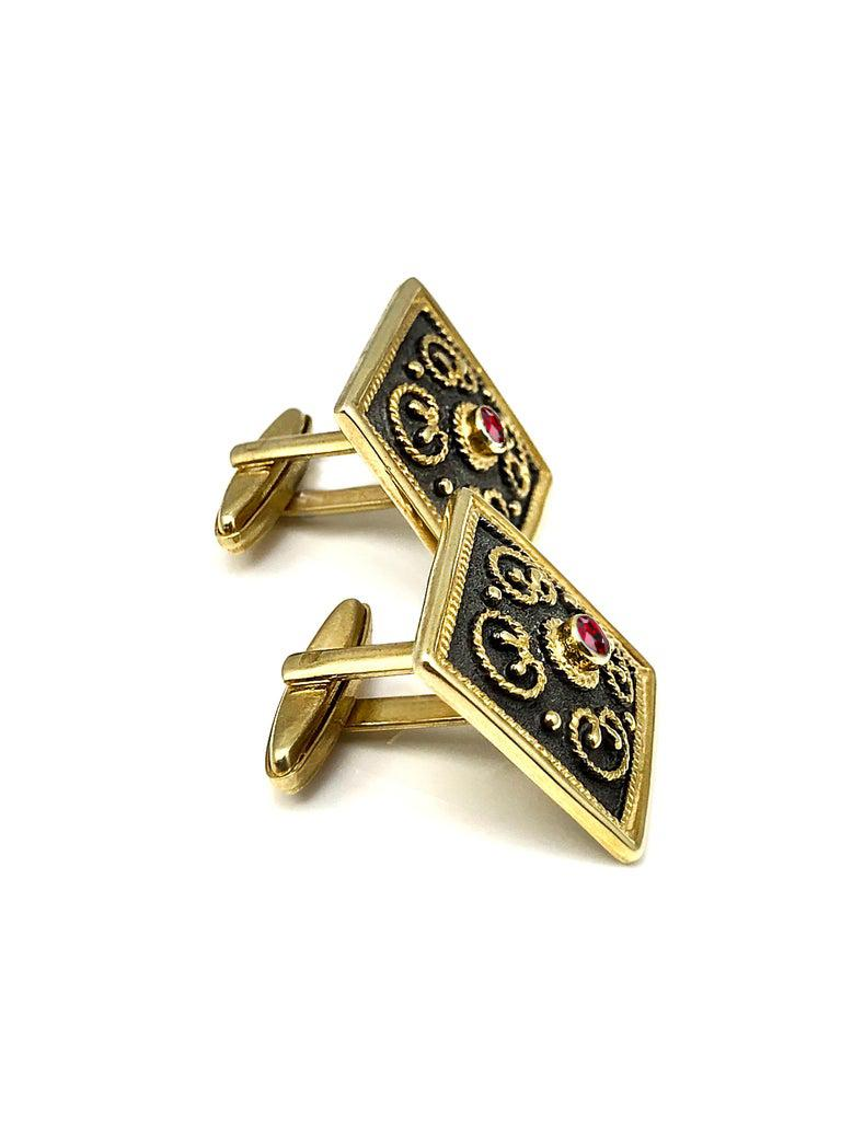 Georgios Collections 18 Karat Yellow Gold Byzantine Style Square Ruby Cufflinks In New Condition For Sale In Astoria, NY