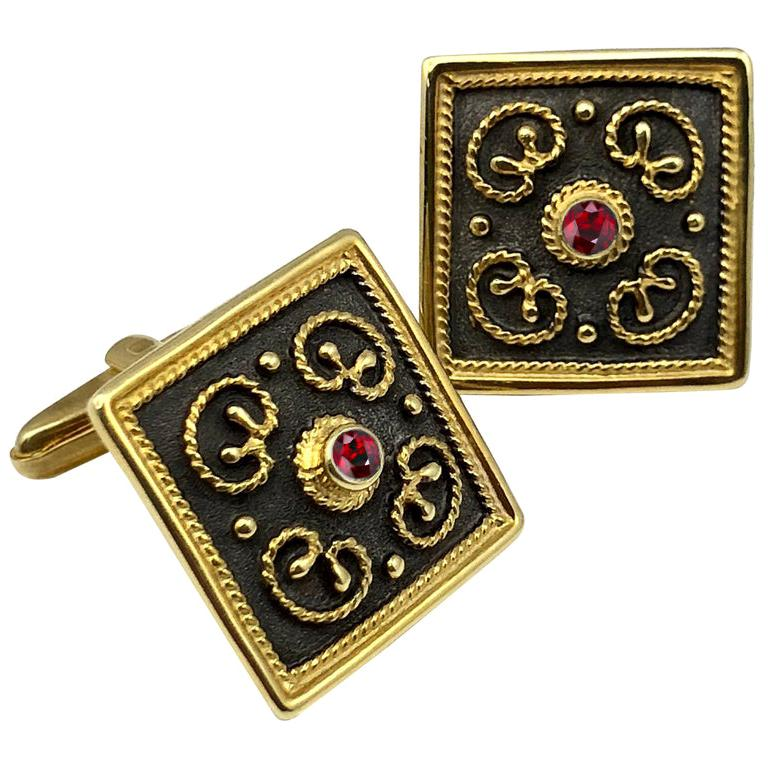 Georgios Collections 18 Karat Yellow Gold Byzantine Style Square Ruby Cufflinks For Sale