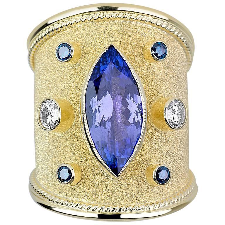 Georgios Collections 18 Karat Yellow Gold Byzantine Tanzanite and Diamond Ring