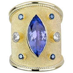 Georgios Collections 18 Karat Yellow Gold Byzantine Tanzanite and Diamond Ring