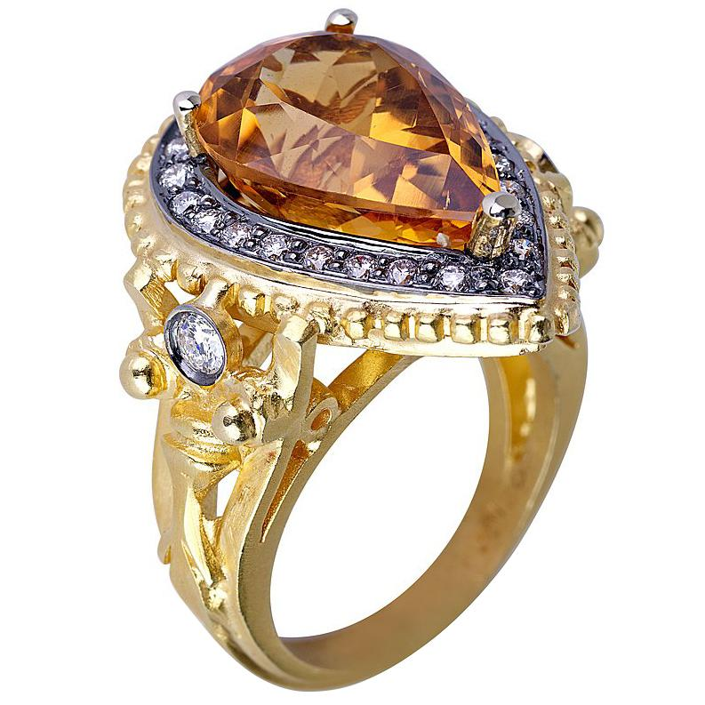 Georgios Collections 18 Karat Yellow Gold Citrine Diamond Ring with Granulation