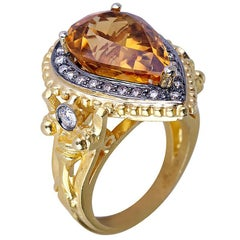 Georgios Collections 18 Karat Yellow Gold Citrine Diamond Ring with Granulation