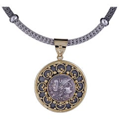Georgios Collections 18 Karat Yellow Gold Coin Pendant with Athena in Silver