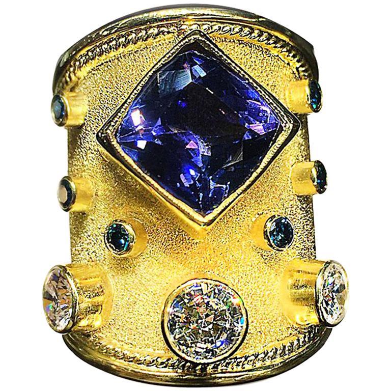 Georgios Collections 18 Karat Yellow Gold Tanzanite and Diamond Thick Band Ring