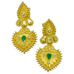 Georgios Collections 18 Karat Yellow Gold Diamond and Emerald Drop Earrings