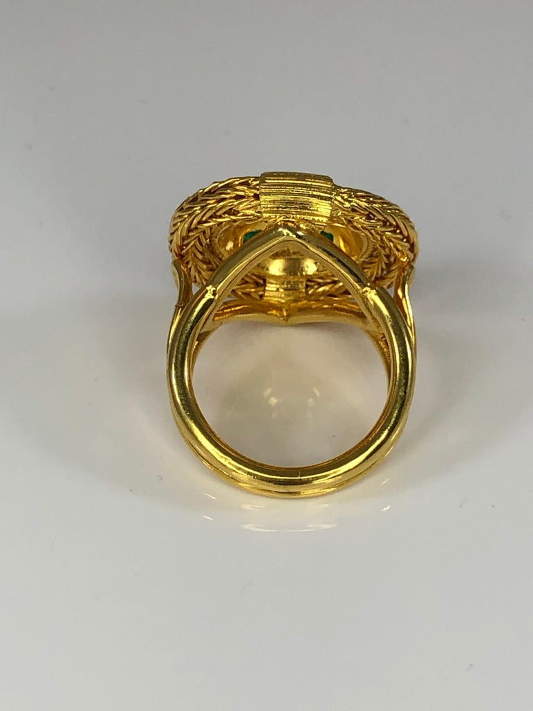 Georgios Collections 18 Karat Yellow Gold Diamond and Emerald Ring with Rope In New Condition For Sale In Astoria, NY