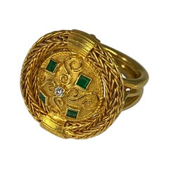 Georgios Collections 18 Karat Yellow Gold Diamond and Emerald Ring with Rope