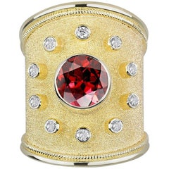Georgios Collections 18 Karat Yellow Gold Garnet and Diamond Thick Wide Ring