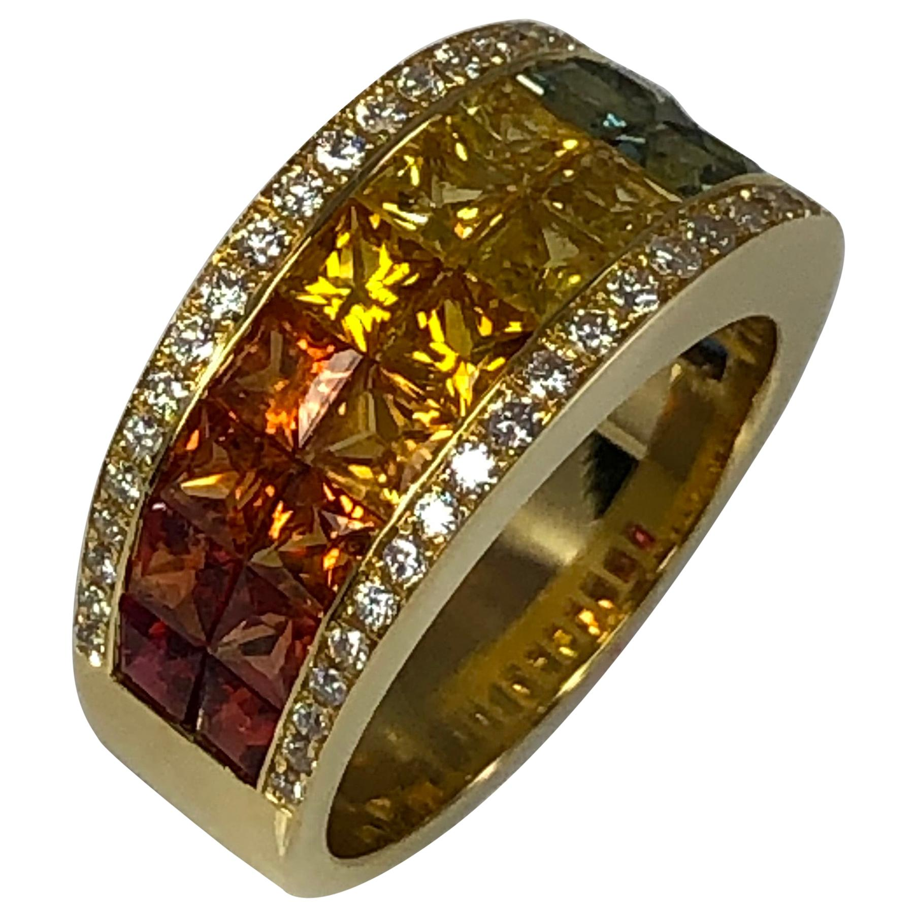Georgios Collections 18 Karat Yellow Gold Diamond and Multi-Color Sapphire Ring