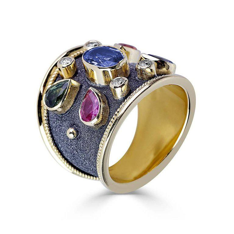 Byzantine Georgios Collections 18 Karat Yellow Gold Diamond and Multi Sapphire Ring For Sale