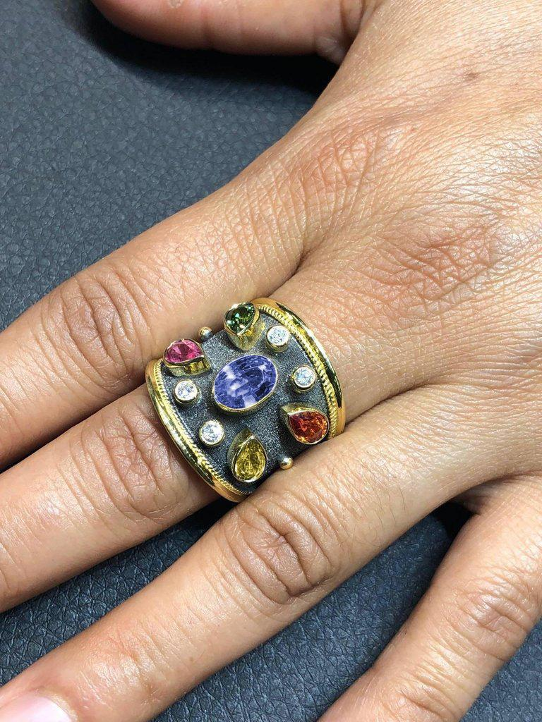 Oval Cut Georgios Collections 18 Karat Yellow Gold Diamond and Multi Sapphire Ring For Sale