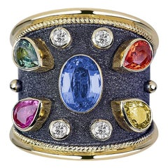 Georgios Collections 18 Karat Yellow Gold Diamond and Multi Sapphire Wide Ring