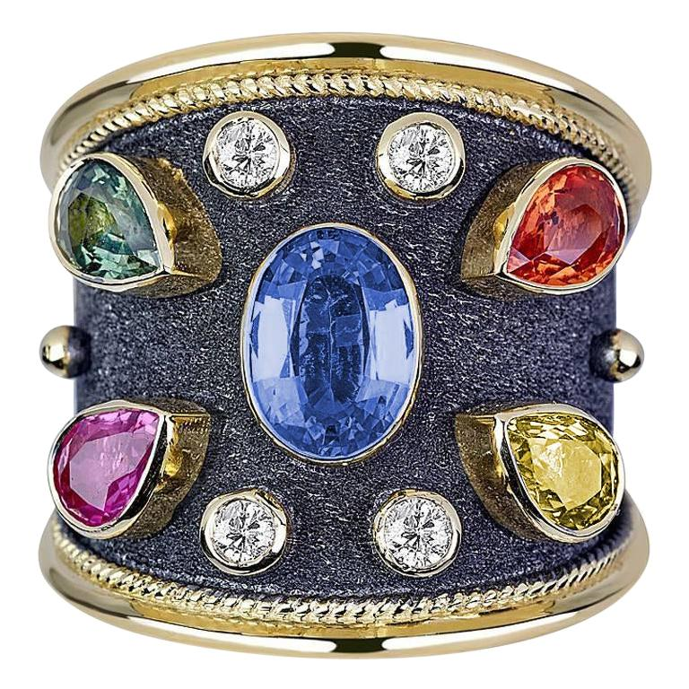 Georgios Collections 18 Karat Yellow Gold Diamond and Multi Sapphire Ring For Sale