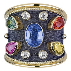 Georgios Collections 18 Karat Yellow Gold Diamond and Multicolor Sapphire Ring