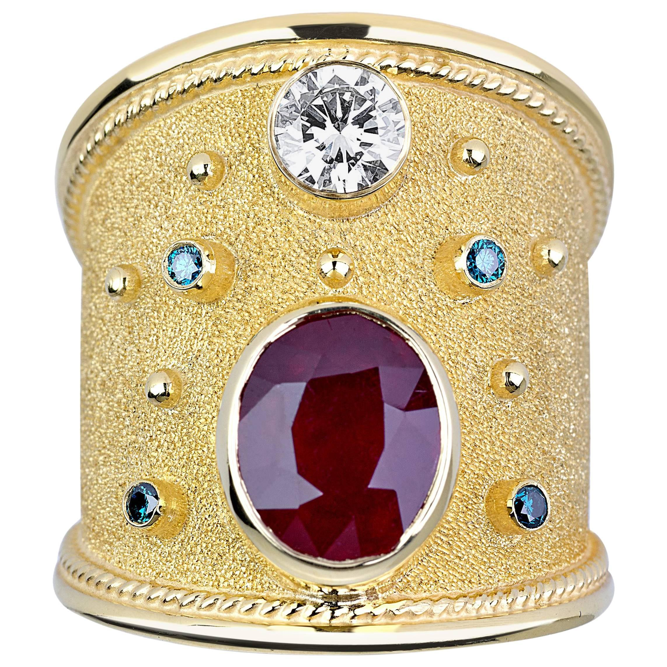 Georgios Collections 18 Karat Yellow Gold Diamond and Ruby Band Ring