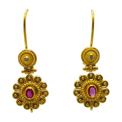 Georgios Collections 18 Karat Yellow Gold Diamond and Ruby Floral Drop Earrings