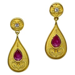 Georgios Collections 18 Karat Yellow Gold Diamond and Ruby Pear Drop Earrings