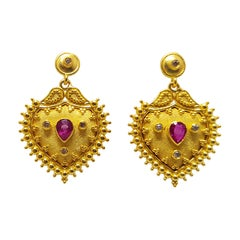 Georgios Collections 18 Karat Yellow Gold Diamond and Ruby Stud Drop Earrings