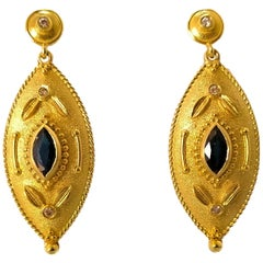 Georgios Collections 18 Karat Yellow Gold Diamond and Sapphire Drop Earrings
