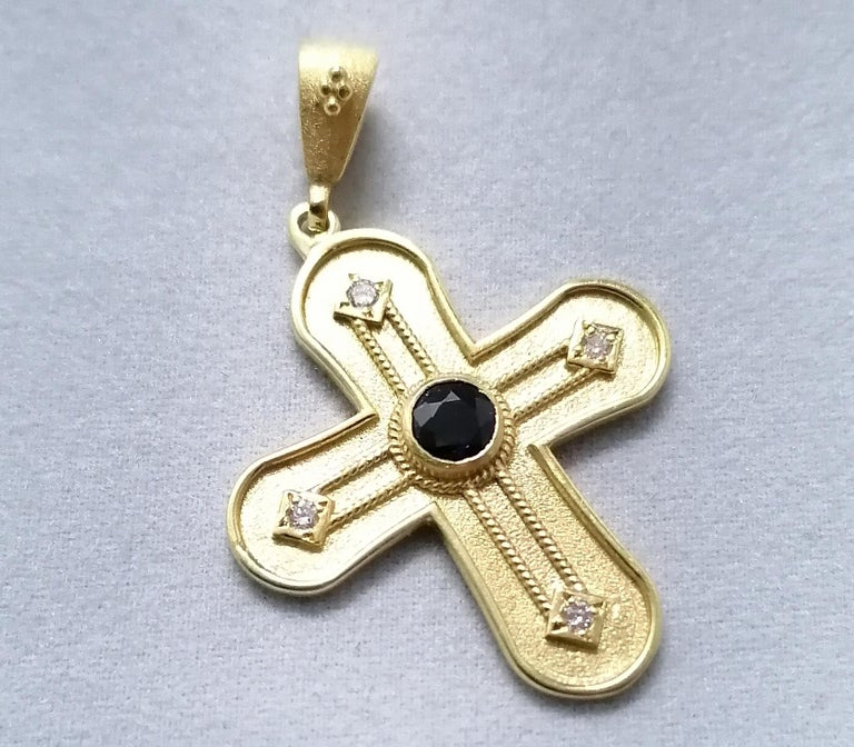 Georgios Collections 18 Karat Yellow Gold Diamond and Sapphire Geometric Cross For Sale 4