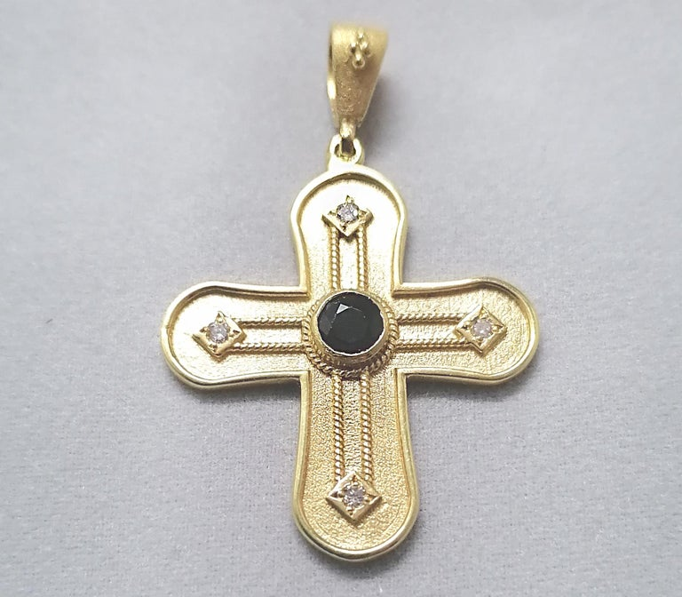 Georgios Collections 18 Karat Yellow Gold Diamond and Sapphire Geometric Cross For Sale 2