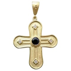 Georgios Collections 18 Karat Yellow Gold Diamond and Sapphire Geometric Cross