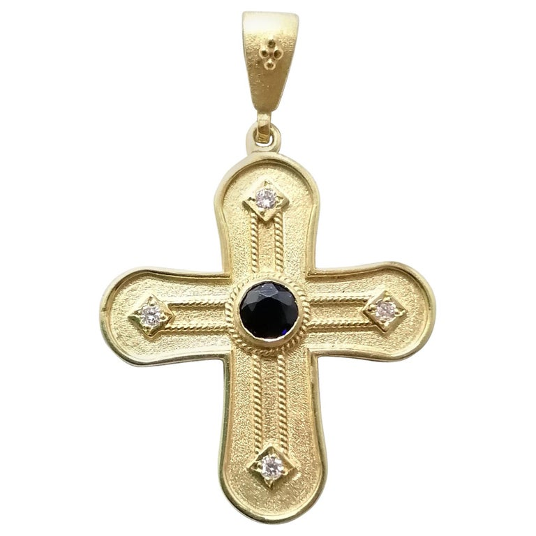 Georgios Collections 18 Karat Yellow Gold Diamond and Sapphire Geometric Cross For Sale