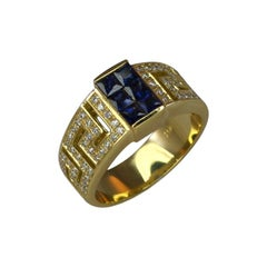 Georgios Collections 18 Karat Yellow Gold Diamond and Sapphire Greek Key Ring