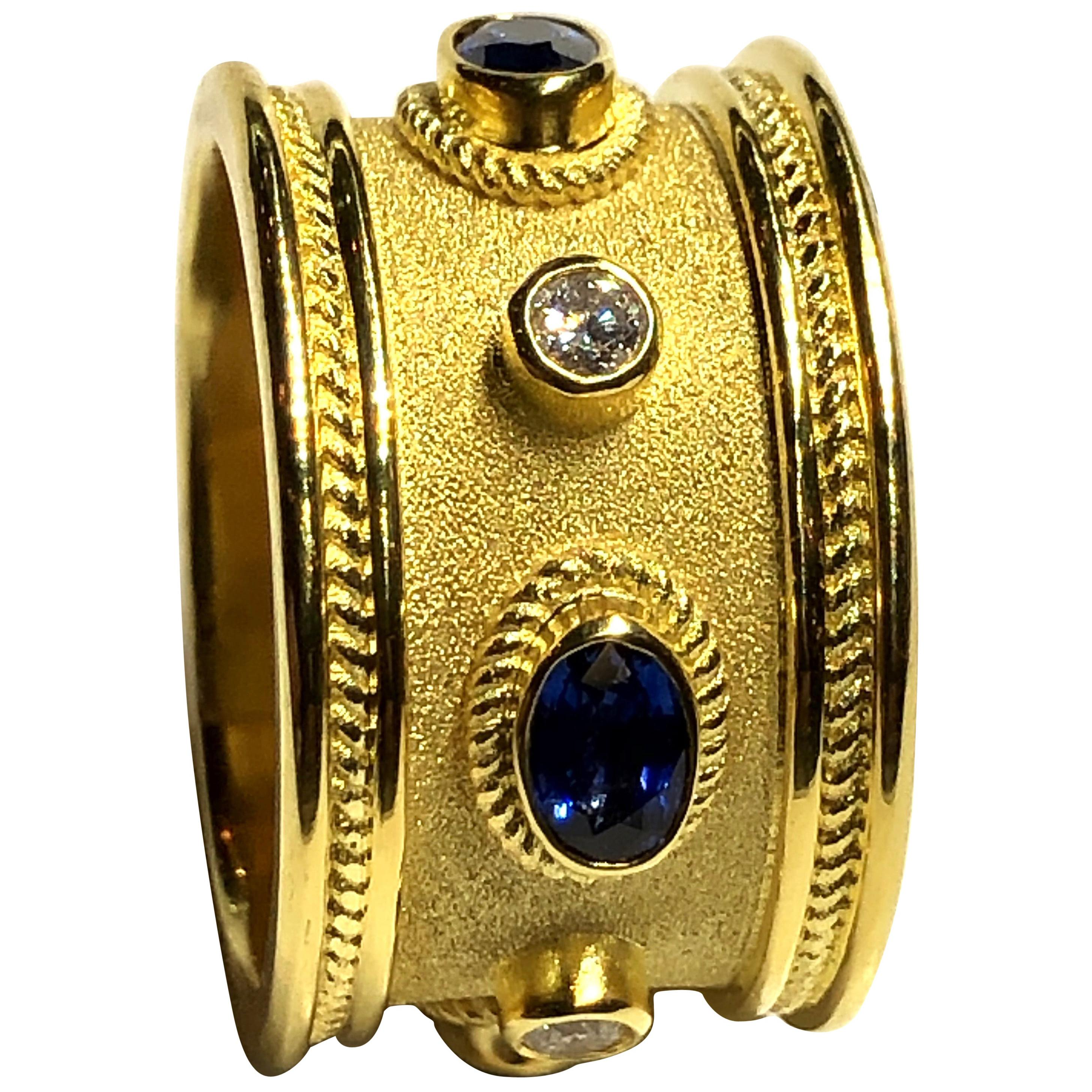 Georgios Collections 18 Karat Yellow Gold Diamond and Sapphire Thick Band Ring