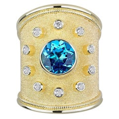 Georgios Collections 18 Karat Yellow Gold Diamond and Sky Blue Topaz Thick Ring