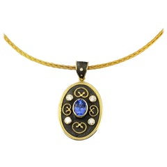 Georgios Collections 18 Karat Yellow Gold Tanzanite and Diamond Pendant Necklace