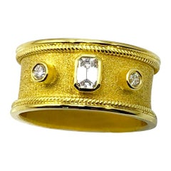 Georgios Collections, 18 Karat Gold-Gelber Unisex Diamant-Ring, Smaragdschnitt