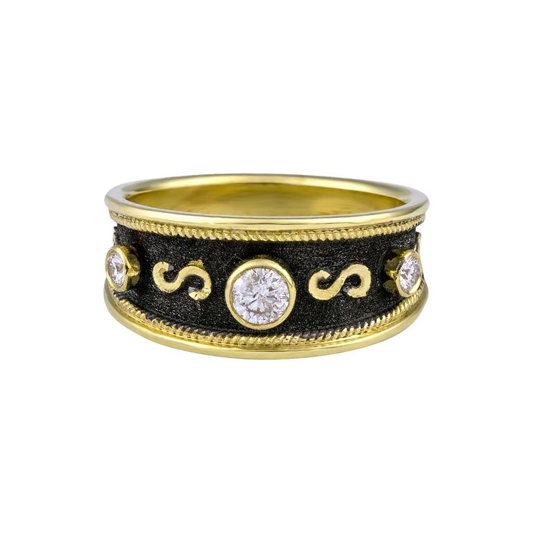 Byzantine Georgios Collections 18 Karat Yellow Gold Diamond Band Ring with Black Rhodium For Sale