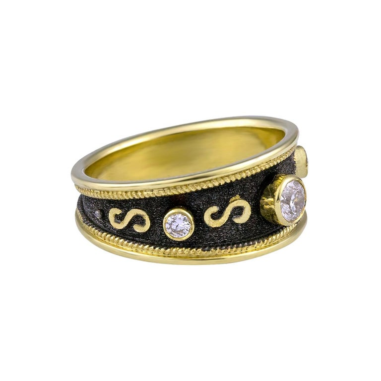 Round Cut Georgios Collections 18 Karat Yellow Gold Diamond Band Ring with Black Rhodium For Sale