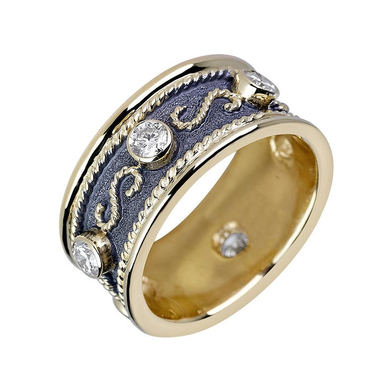Georgios Collections 18 Karat Yellow Gold Diamond Band Ring with Black Rhodium For Sale 3