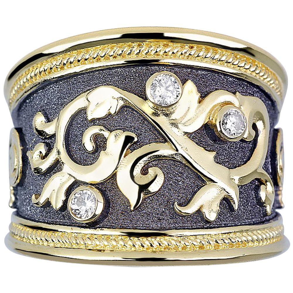 Georgios Collections 18 Karat Yellow Gold Diamond Black Rhodium Wide Band Ring