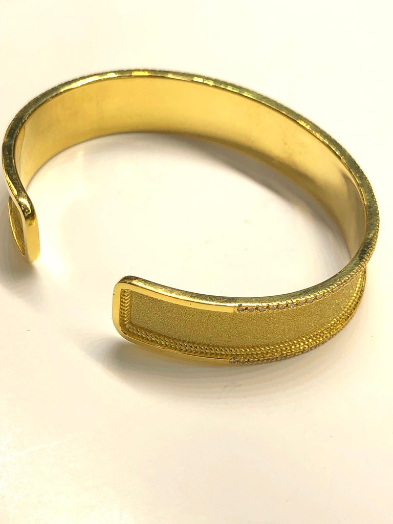 Georgios Collections 18 Karat Yellow Gold Diamond Bangle Bracelet For Sale 3