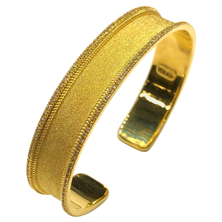 Georgios Collections 18 Karat Yellow Gold Diamond Bangle Bracelet For Sale