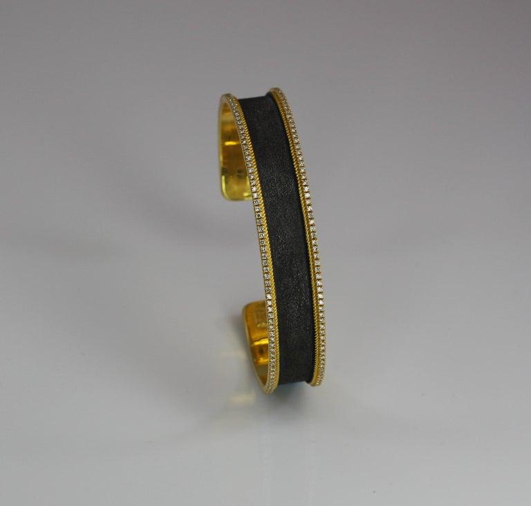Georgios Collections 18 Karat Gold Two Tone Diamond Bangle Bracelet with Rhodium For Sale 5