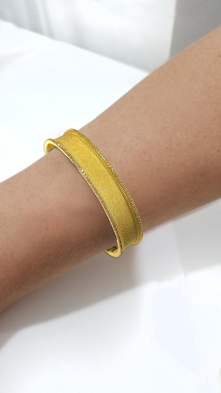 Round Cut Georgios Collections 18 Karat Gold Two Tone Diamond Bangle Bracelet with Rhodium For Sale