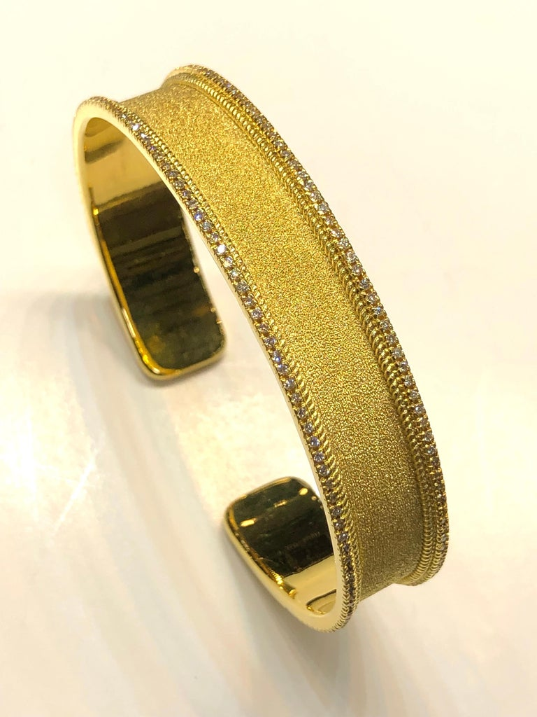 Georgios Collections 18 Karat Gold Two Tone Diamond Bangle Bracelet with Rhodium For Sale 4
