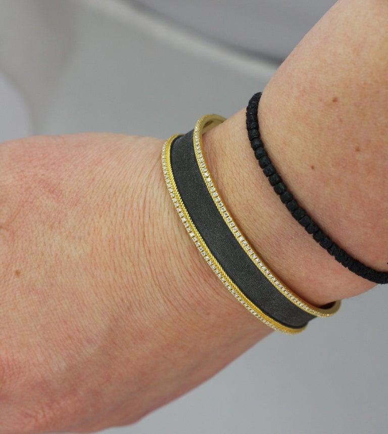 Byzantine Georgios Collections 18 Karat Gold Two Tone Diamond Bangle Bracelet with Rhodium For Sale
